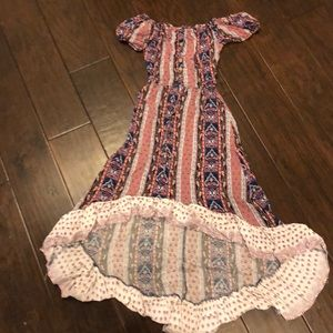 mid length, off the shoulder dress